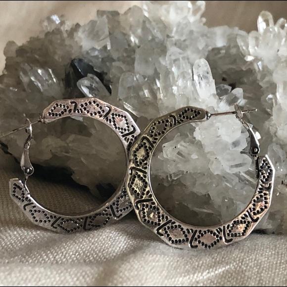 f5580477f Jewelry   Boho Chunky Silver 112 Dia Hoop Earrings Nwot   Poshmark